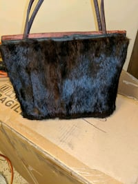black and blue leather tote bag Aurora, 80010