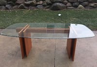Danish teak/glass dining table