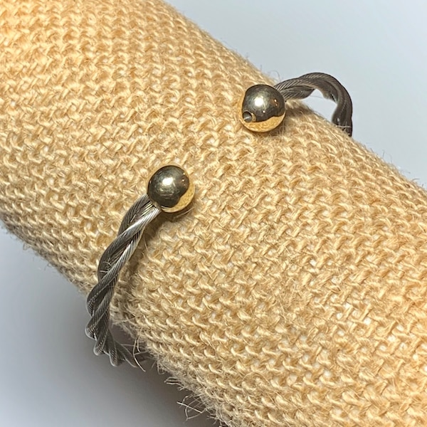 Classic Cable Cuff Bracelet with Solid 14k Yellow Gold Balls a3f87dd1-2b49-4cbe-b1fb-6be91d4123de