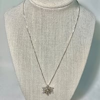 14k Gold Sterling Silver Diamond Snowflake Pendant with Sterling Box Chain Ashburn