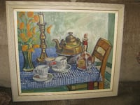 two teacups and teapot on table painting