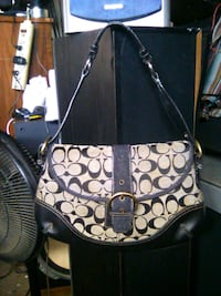 monogrammed brown and black Coach leather shoulder bag Madera, 93638