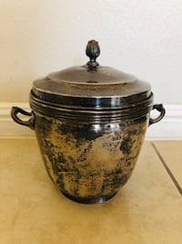 Vintage Silver-plate Glass Lined Sheffield Silver Co. Ice Bucket: