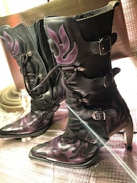 Ladies black and purple European boots with chrome heels  Vancouver, V6B 1J4
