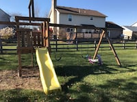 brown wooden slide and swing Ames, 50014