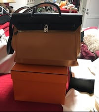 Brandnew Authentic Hermes Herbag 39 Etoupe/ Bleu Indigo comes with complete set, box, dustbag , lock and keys with dustbag, receipt and booklet Los Angeles, 91402