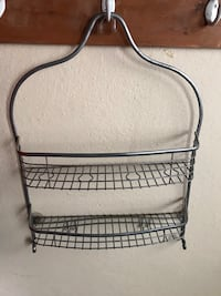Brushed silver shower caddy