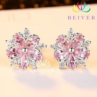 Pink and Clear AAA CZ Cherry Blossom Earring in White Gold Filled Fullerton