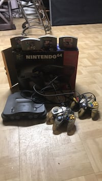 nintendo 64 game system with two controllers and 4 games  Shrub Oak, 10588