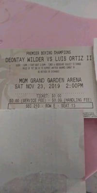 Deontay wilder vs ortiz tickets 2 available 320 or best offer Las Vegas, 89147