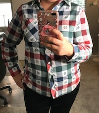 American Sweetheart Women's Flannel Plaid Top Blouse Sz Large