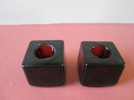 2 Amber Color Square Glass Taper Candle Holders