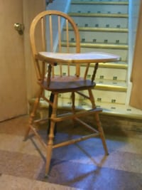 baby's brown wooden high chair Troy