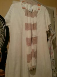 white and brown stripe scarf w/ dress