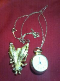 Gold Tone Watch Necklace and Gold Tone Pin