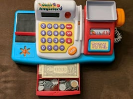 Toy Cash Register with money