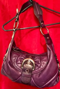 """B Makowsky purple supple leather handbag. All leather with silver and gold hardware.  One little """"snag"""" on handle as seen in picture"""