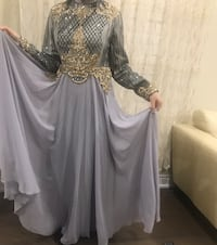 grey chiffon long modest dress with gold sequin details  561 km