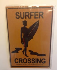 Surfer Crossing By Order Of Beach Authority Tin Sign 8 X 12 New London