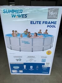 Summer Waves 16ft x 48in Swimming Pool w/ Pump, Filter, Cover, Ladder