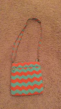 yellow and green chevron crossbody bag Evans, 30809
