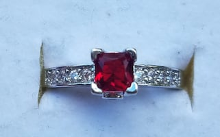 Sterling Silver Ruby ring and diamond ring