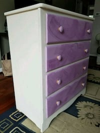 white and purple wooden 5-drawer chest Arlington, 22209