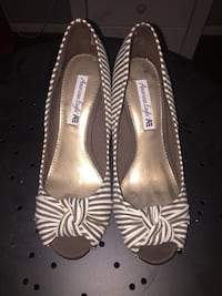 Brown-and-white stripe american eagle peep-toe pumps