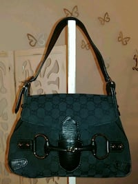 Gucci Black CC Canvas Horsebit Borsa Firenze, 50136