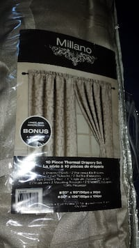 COMPLETE SET OF TWO LUXURY DRAPE PANELS, TIE BACKS AND CURTAIN ROD - BRAND NEW IN PACKAGE Toronto