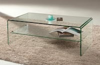 60% OFF NEW Glass Modern Waterfall Sled Coffee Table Storage