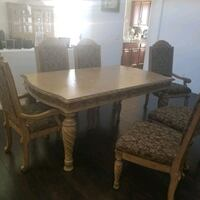 rectangular brown wooden table with four chairs dining set Henderson, 89011
