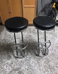two black leather padded bar stools Vancouver, V5R