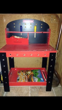 Wood Red and black craftsman workbench for a child  Hamilton, 08690