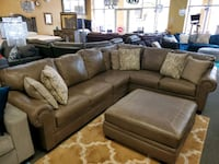 All breathable leather sectional with pillows Jacksonville, 32246