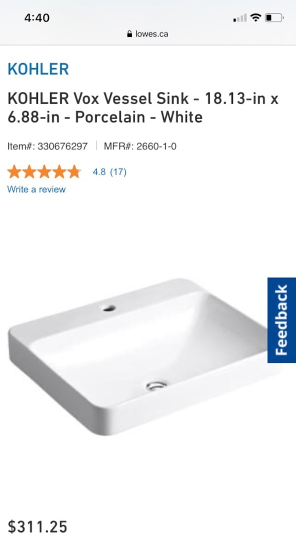 Kholer Vox Bathroom Sink BNIB 0