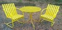 Yellow wrought iron patio table & chairs Athens