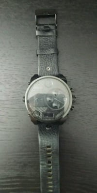 round silver chronograph watch with gray leather strap Edmonton, T5B 3E1