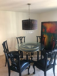 Antique Round Glass Dining Table Set with Six Chairs - Black and Gold Arlington