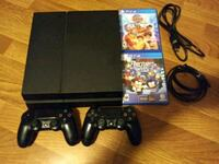black Sony PS4 console with controller and game cases Woodstock, 60098