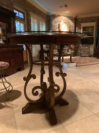 Wooden Bar Table w/Glass Top