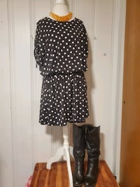 2XL NWOT Black Dress with White Polka Dots