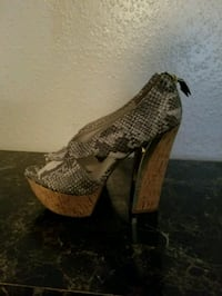 brown and black snakeskin leather platform pumps Houston, 77082