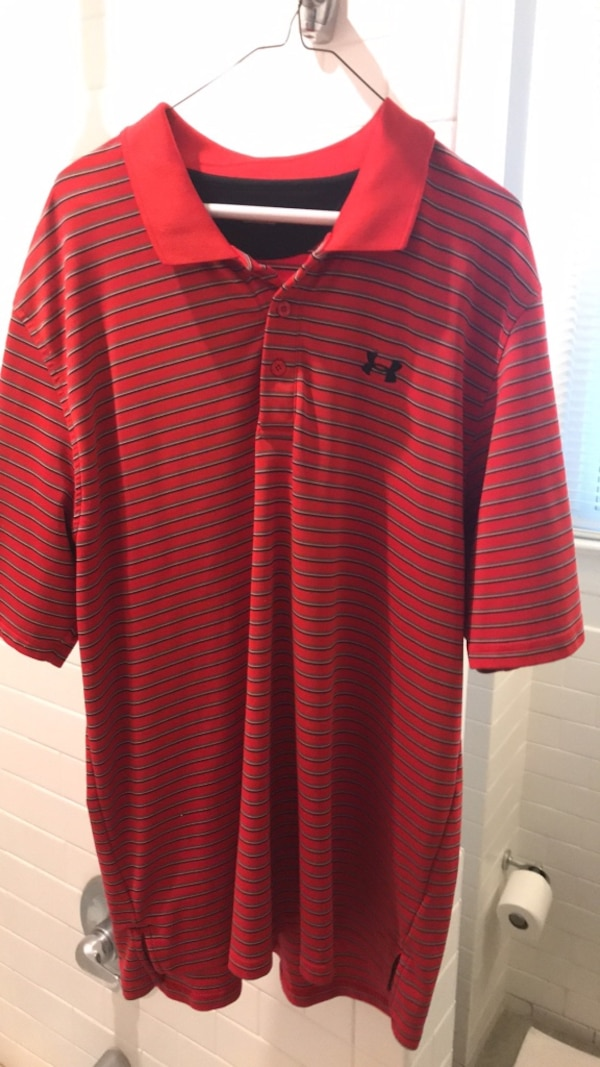 red and white stripe polo shirt