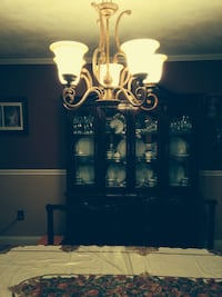 Gold and white up light chandelier