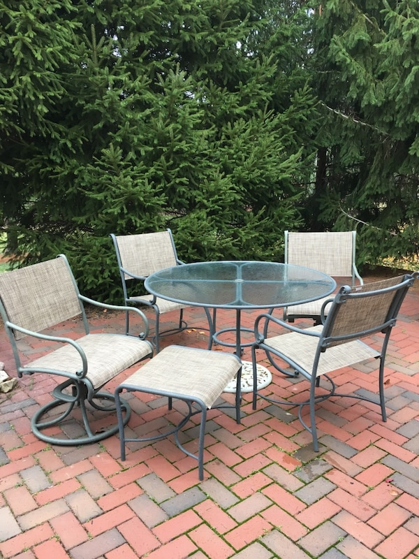 Patio Table Chairs Brown Jordan Roma 4 Sling 2 Swivel
