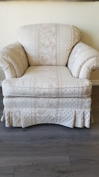 white and gray floral fabric sofa chair Toronto