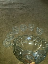 clear glass punch bowl set Indian Head, 20640