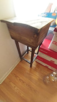 brown wooden desk with black metal base High Point