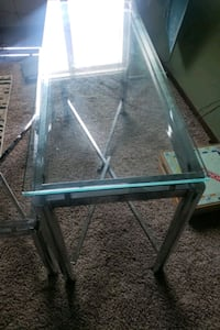 rectangular glass top table with gray metal base West Des Moines, 50265